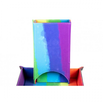Velvet Folding Dice Tower Rainbow