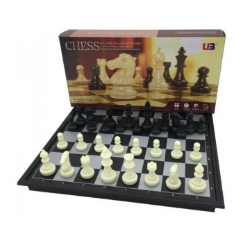 U3 Folding Magnetic Chess & Checkers travel set (Black/White)