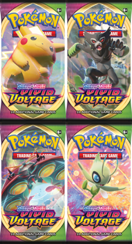 Pokemon Booster Pack X 4 (one of each art) - Sword and Shield Vivid Voltage