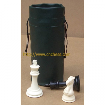 CNChess Vinyl Drawstring Chess Pieces bag - Black