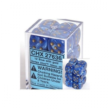 Chessex D6 Set of 12: Vortex Blue