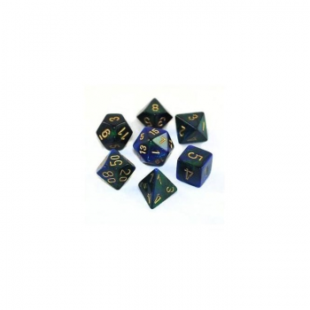 Chessex Gemini Polyset of 7: Blue-Green / Gold