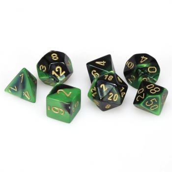 Chessex Gemini Polyset of 7: Black-Green / Gold