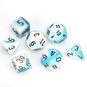 Chessex Gemini Polyset of 7: White-Teal / Black
