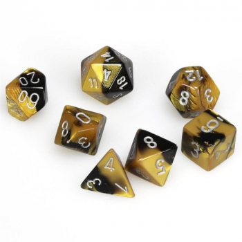 Chessex Gemini Polyset of 7: Black-Gold / Silver