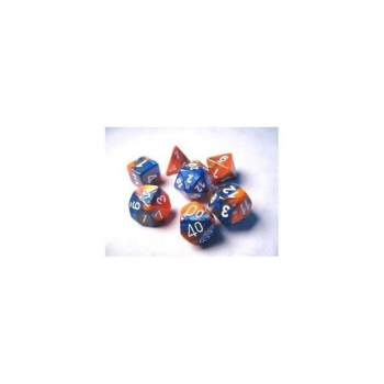 Chessex Gemini Polyset of 7: Blue-Orange / White