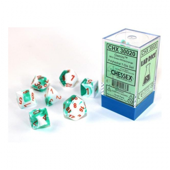Chessex Gemini Polyset of 7: Mint Green - White / Orange Lab Dice
